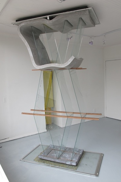 That Dead Man Sings, 2013 glass, cement, polyurethane foam, ink, aluminum, and wood 104(variable) x 56 x 28 inches
