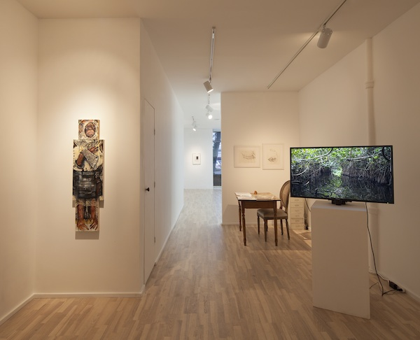 installation view (from left to right):Space Monkey, 2012, Hallucigenia, 2012, Brachiopod, 2010, and On My Way Gone, 2012