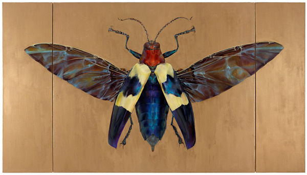 Jewel Beetle, 2007 oil and wax on canvas, in three parts 54 x 96 inches