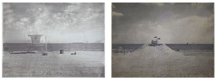 Matthew Brandt Long Beach CA, Long Beach NY, 2008-10 salted paper print with Pacific Ocean water from Long Beach, California and salted paper print with Atlantic Ocean water from Long Beach, New York each 30 x 40 inches