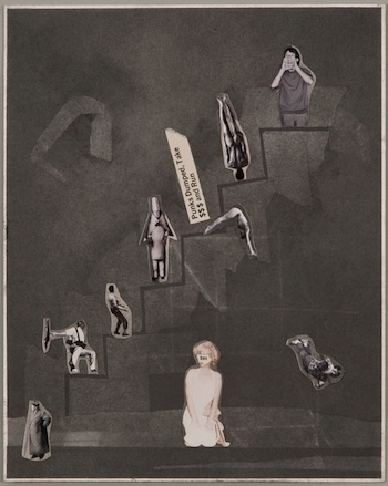 For Each There Kind of Landing Zone, 2012 graphite and collage on paper 12 x 9 1/2 inches