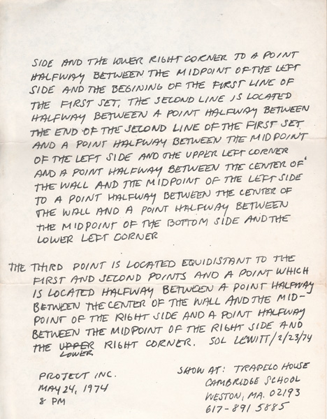 Sol Lewitt The Location of Three Points Wall-Drawing, page 2, 1972
