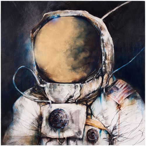 Moonman I, 2011 oil, wax, and charcoal on panel 24 x 24 inches
