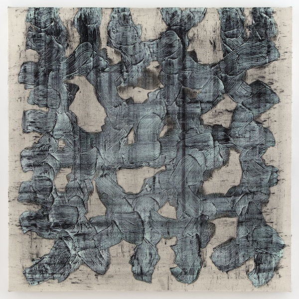 Graphite Painting on Canvas (2012) rabbit skin glue, oil paint, and graphite powder on canvas 30 x 30 inches