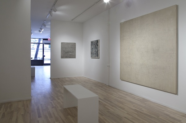 installation view (from left to right): Study for Da Capo, Graphite Painting on Canvas, and Graphite Drawing