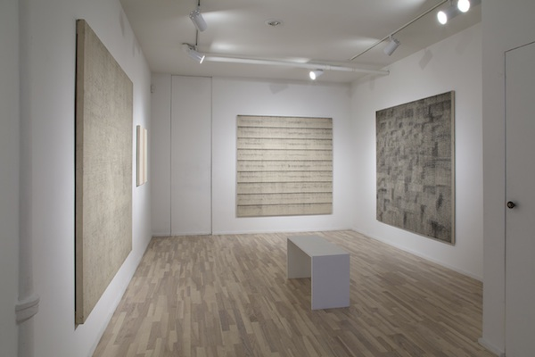 installation view (from left to right): Graphite Drawing, Untitled, Charcoal Drawing, and Da Capo