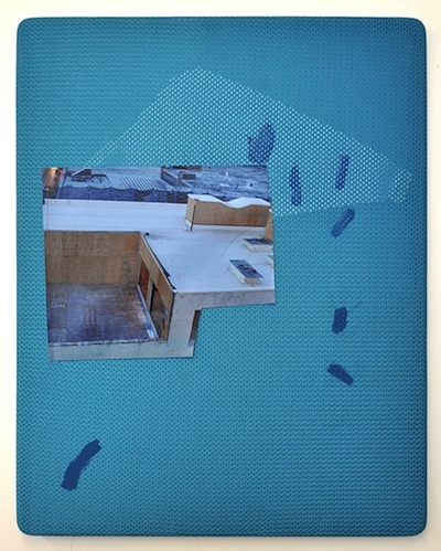 Compact, 2014 archival inkjet print, polyester, gel medium, vinyl, walnut frame, and thread 27 1/2 x 22 inches