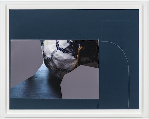 Experiment, 2014 embossed paper, archival inkjet print, and thread 15 1/4 x 19 3/4 inches (17 1/2 x 22 inches framed)
