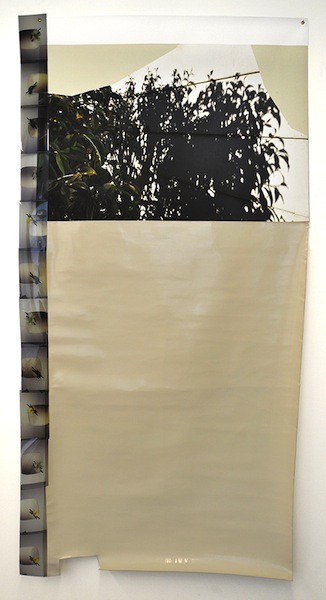 Later, 2014 PVC/polyester/cotton fabric, archival inkjet print on vinyl, film transparencies, brass grommets, and tape 86 x 44 inches
