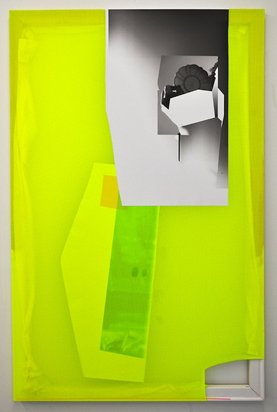 Neon Rendering, 2014 archival inkjet print on scrim vinyl, polyester, stretchers, gesso, acrylic paint, acrylic rods, and gel medium 66 x 42 inches