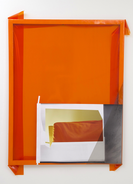 Jude Broughan Orange Project Room 2012 wood stretchers, staples, paint, vinyl, color print, tape