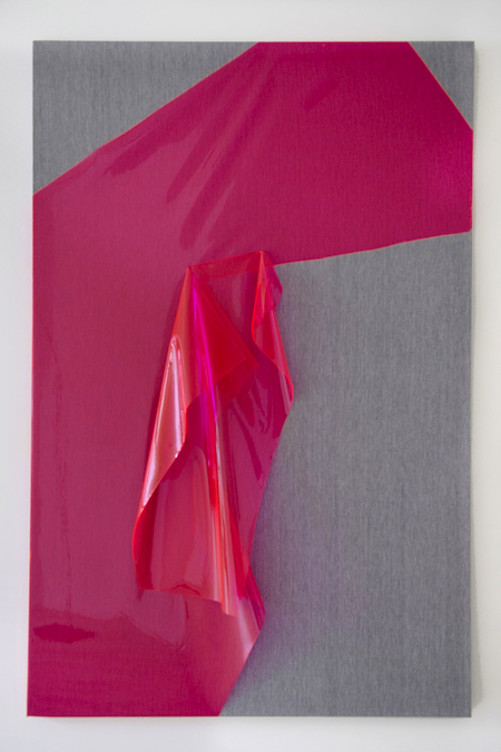 Jude Broughan Pink Project Room 2012 wood stretchers, staples, fabric, vinyl