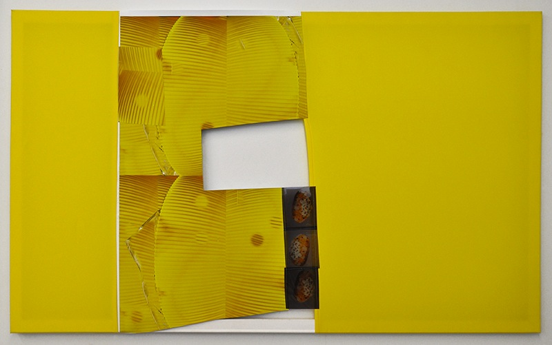 Stock, 2014 stretchers, polyester, archival inkjet print on scrim vinyl, film transparencies, gesso, and thread 36 x 60 inches