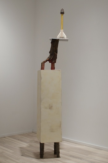 Pine Cone Rocket, 2008-2012 steel, wood, gold leaf, pine cone, and acrylic paint 73 x 14 1/2 x 12 1/4 inches