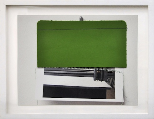 Cold Mount Roller, 2013 photograph, leather, and thread 8 x 10 5/8 inches (11 1/2 x 13 inches framed)
