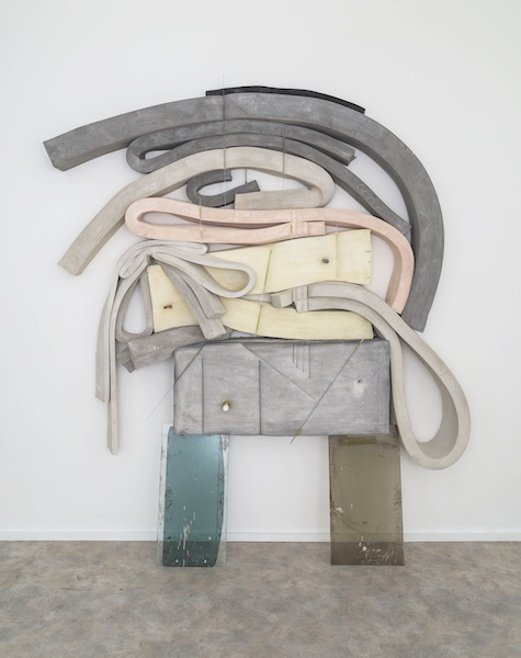 Destiny, 2014 glass, cement, polyurethane foam, tint, tape, pen, marker, glue stick, and pretzel 94 x 75 x 8 inches