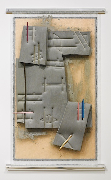 Untitled (Grey) 2014 cement, dye, polyurethane foam, shower door, pencils, and aluminum 54 x 33 x 5 inches