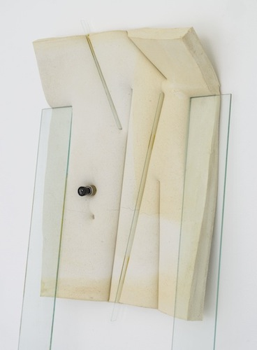 Lighghts, 2014 glass, cement, polyurethane foam, tint, tape, aluminum, and car lighter 73 1/2 x 21 x 10 inches