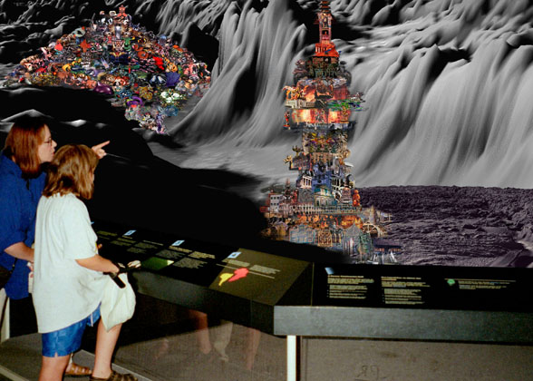David Askevold Tourists Viewing Pilescape, 2000 inkjet on canvas, 48 x 67 inches, courtesy of CANADA, New York