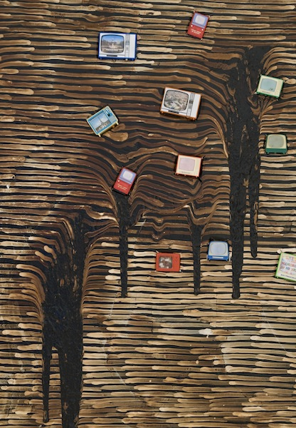 Tar Painting (detail), 1985 tar, oil paint, paper, tape, plastic toys 48 x 96 inches