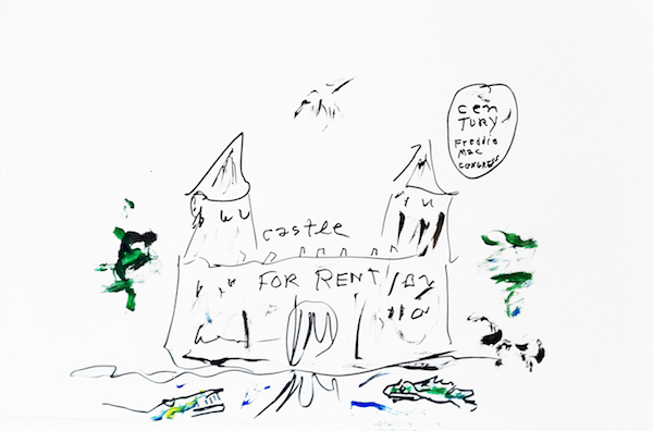 Fairy Tale Poem, sheet 9 (castle for rent), 2012 ink and acrylic on paper 28 1/2 x 20 5/8 inches framed