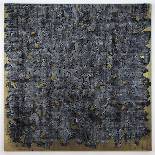 Graphite Painting on Gold (2012) rabbit skin glue, oil paint, and graphite powder on canvas 72 x 72 inches