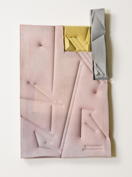 Untitled (Pink,Grey,Yellow) 2013 polyurethane foam, pencil, cement, and dye 40 x 25 x 5 inches