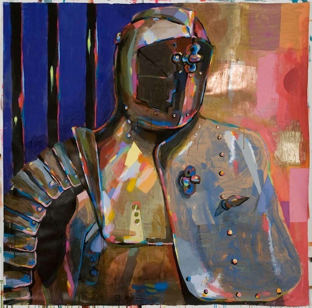 Battle Armor II, 2012 acrylic, ink, and collage on paper 51 1/2 x 52 inches