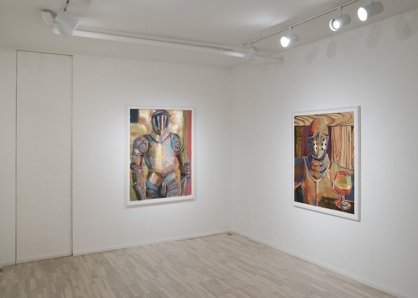installation view: Battle Armor with Codpiece, 2012 and Battle Armor with Cognac Snifter, 2012
