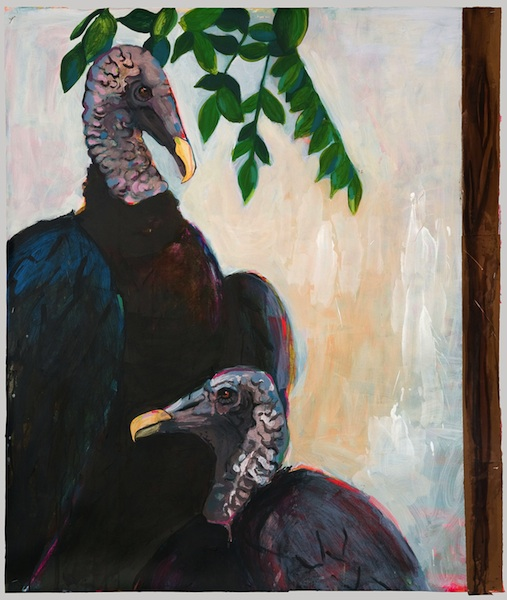 Two Vultures, 2011 acrylic, ink, and collage on paper 40 x 30 inches