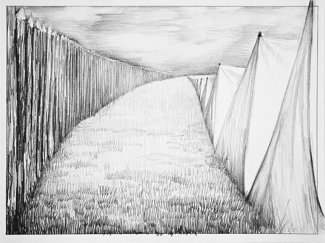 Spook™ INFERNO:  Chapter Two, LUST British Camp Bottom's Bridge, 2012 graphite on paper 11 x 15 inches framed