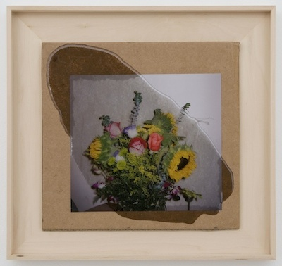 Untitled (collage, flowers and varnish), 2014 paper, acrylic, and oil on cardboard 9 3/4 x 10 1/4 inches, 13 1/2 x 14 1/4 inches framed