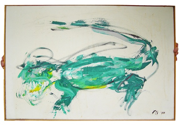 Alligator, 1994 oil on canvas in wooden frame 36 1/2 x 24 1/4 inches framed photo: Clayton Patterson