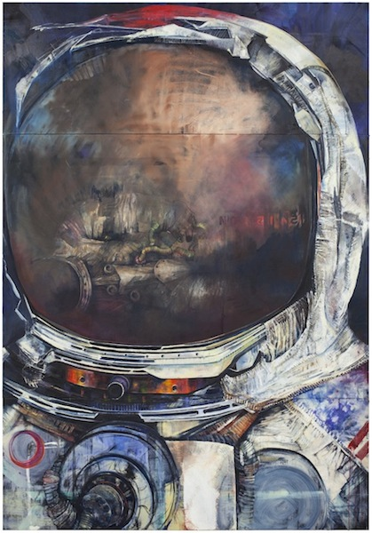 Moonman V, 2011-2012 oil on canvas, in three parts 120 x 84 inches