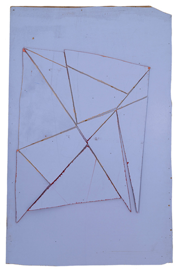 Diamonds and Nails, 2013 acrylic paint, nails, and wood 52 1/2 x 34 inches