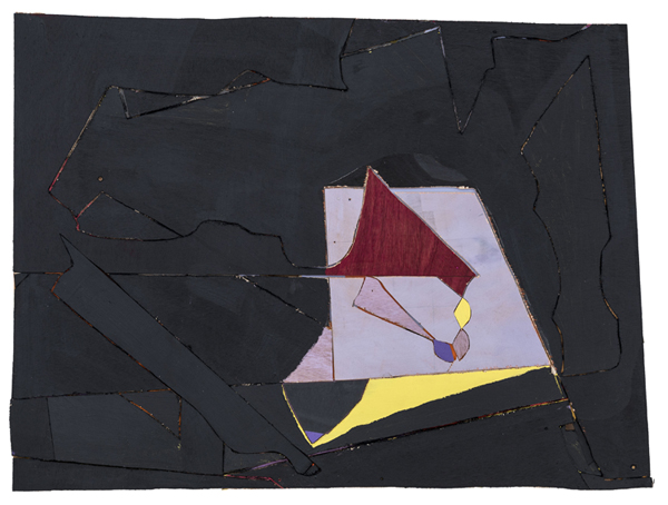 Kite, 2014 acrylic paint, oil paint, paper, archival glue, nails, and wood 23 1/2 x 30 3/4 inches