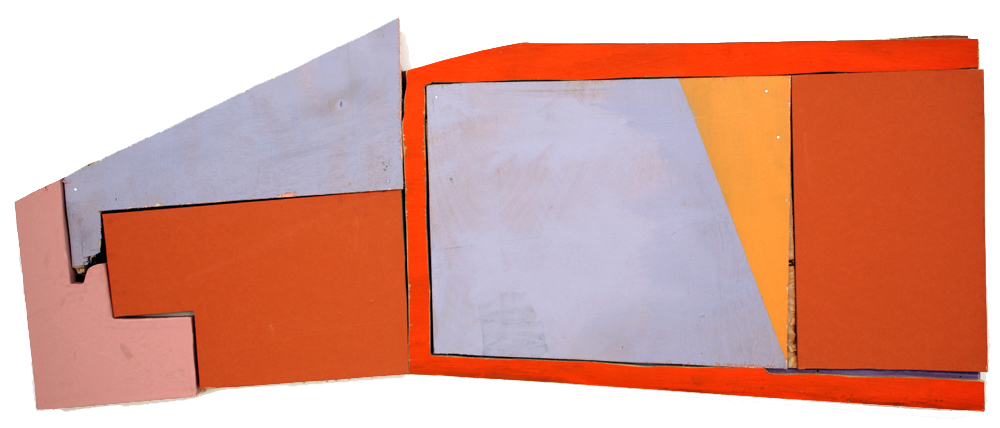 Untitled (Painting for SB), 2013 acrylic paint, oil paint, paper, archival glue, nails, and wood 17 x 41 inches