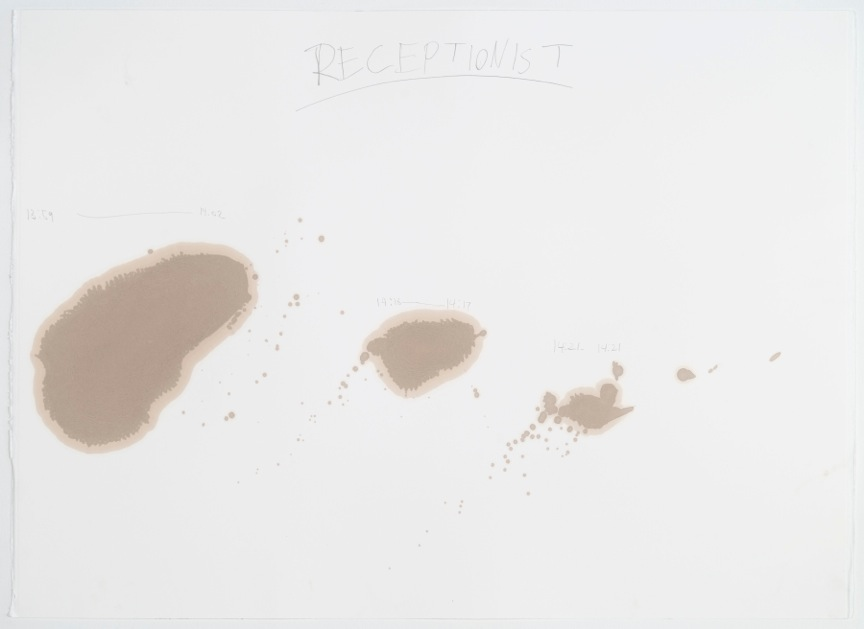 Jesus Benavente Receptionist, 2014 motor oil and graphite on paper 22 x 30 inches