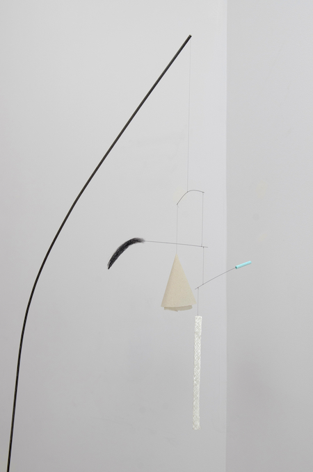 Inside adds-on funny drop, 2012 oxidized steel, nylon coated steel wire, birdcage liner, eyebrow, miracle-gro, fiberglass wick 23 x 71 x 8 inches