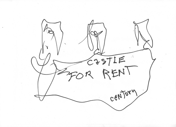 Taylor Mead Castle for Rent, 2012 ink on paper 8 1/2 x 11 inches