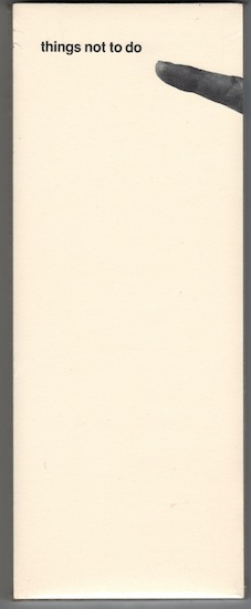 Wooster Enterprises Things Not To Do Note Pad, 1973 10 1/4 x 4 inches