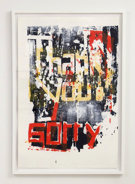 Annette Wehrhahn Thank You Sorry #1 2009 polymer on paper 26 x 40 inches